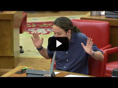 "Embedded thumbnail for Video: Pablo Iglesias a Florentino Perez ""DEVUELVE LOS 1350 MiLLONES a los Españoles"""