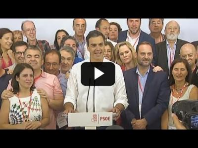 Embedded thumbnail for Video: PEDRO SANCHEZ gana las primarias del PSOE (21/04/2017)